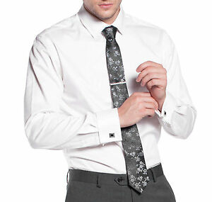 New varce men 39 s french cuff slim fit business formal dress for French cuff slim fit dress shirt
