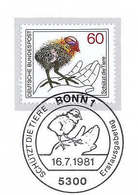 Analytisch Brd 1981: Tierschutzmarke Nr. 1102 Mit Bonner Ersttags-sonderstempel! 1a! 154