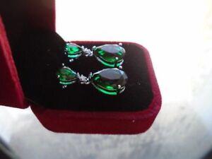 Women-039-s-Emerald-Teardrop-Drop-Dangle-18k-White-Gold-Formal-Stud-Earrings-NICE