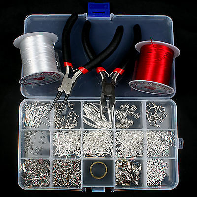 Silver Plated Jewellery Making Starter Kits Beads Pliers Chain Cord Tools Set