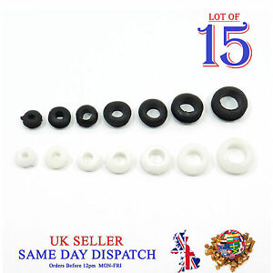 1-10pcs BLACK Rubber Grommet Double Sided Open Hole Gasket Ring Cable Wiring