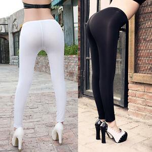 Sexy Women Transparent Open Crotch Stretch Pants Lingerie ...