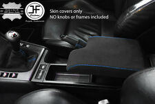 BLUE STITCH REAL SUEDE GEAR HANDBRAKE & ARMREST COVER FITS BMW E46 1999-2005