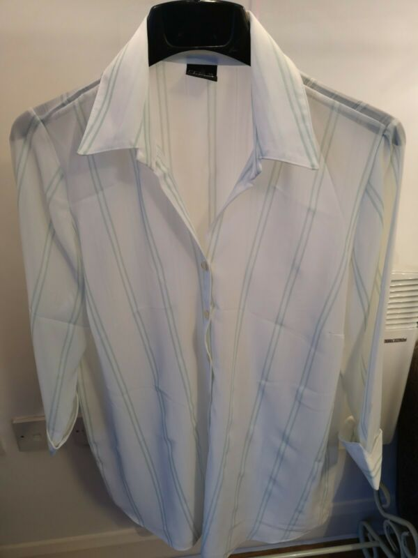 Bnwot Lovely White Striped Detail Shirt By Try Clothing Size 18