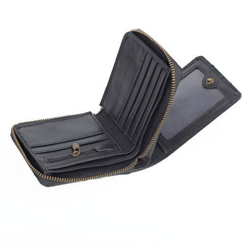 Men/'s 100/% Cowhide Leather Zipper Wallet RFID Blocking Card Holder Coin Purse
