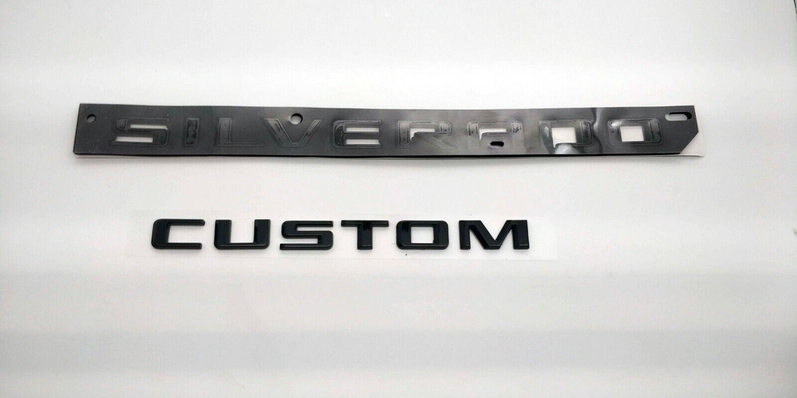 Chevrolet Silverado Door /& Tailgate Silverado Custom Matte Black Emblem 84300948