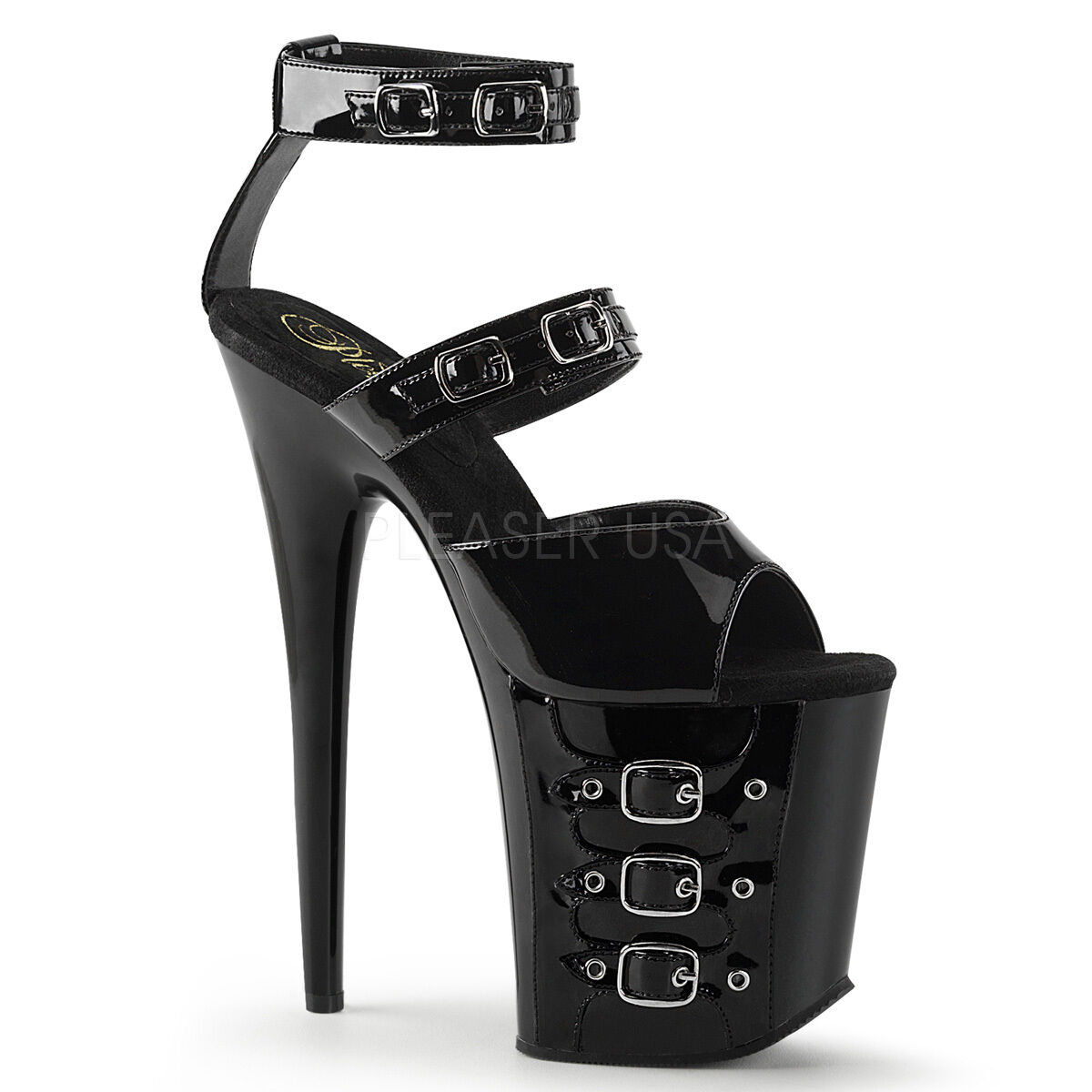 Sexy Stripper 8  High Heel Buckled Ankle Strap Black Platform shoes FLAM885 B M