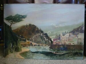 Vintage-Cornish-painting-Oil-gouache-on-board-Landscape-Frederick-T-W-Cook-RWA
