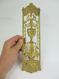 Iron Finger Plate Push Door Handle Antique STYLE REPRO Floral Flowers