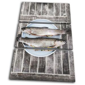 Fish-Seafood-Sea-Fresh-Food-Kitchen-TREBLE-CANVAS-WALL-ART-Picture-Print