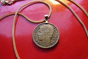 "1932 French Art Deco Antique Deux Franc Coin Pendant on an 28"" Gold Filled Chain"