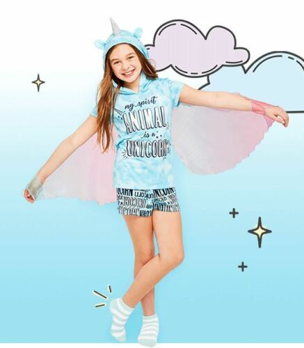 Justice Unicorn Winged Pajamas Set Size 10 12 NWT