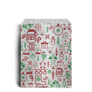 Iconic Christmas Design Sweet Paper Bags - Christmas, Santa, Festive Party Bags
