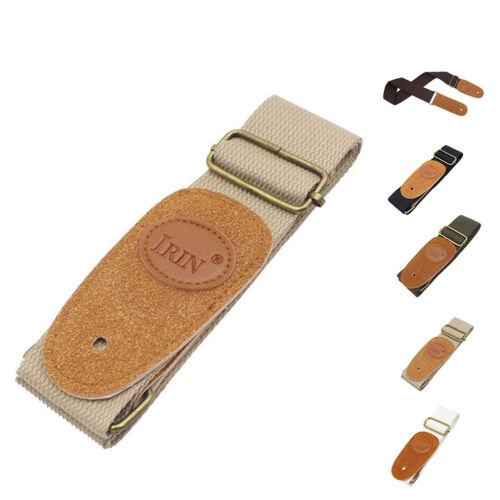 Estremità in pelle cotone regolabile Strap Cintura Per Acustico Elettrico Folk Chitarra Basso