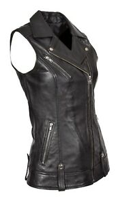 Womens-Real-Leather-Waistcoat-BLACK-Gilet-Long-Fitted-Vest-Sleeveless-Jacket-Top