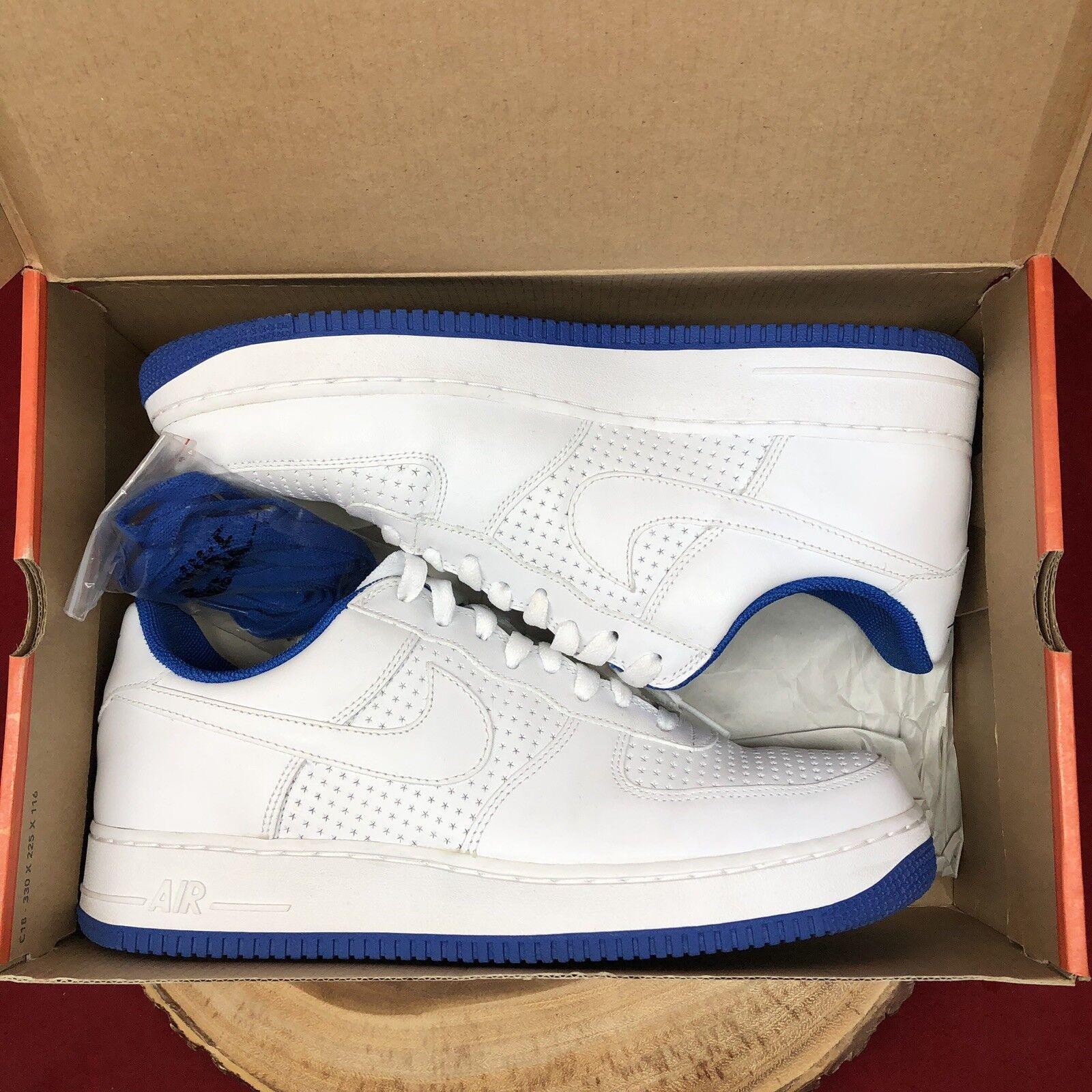 06 Nike Air Force 1 WHITE VARSITY ROYAL blueeE PERFORATED PERF STARS 313642-141 11