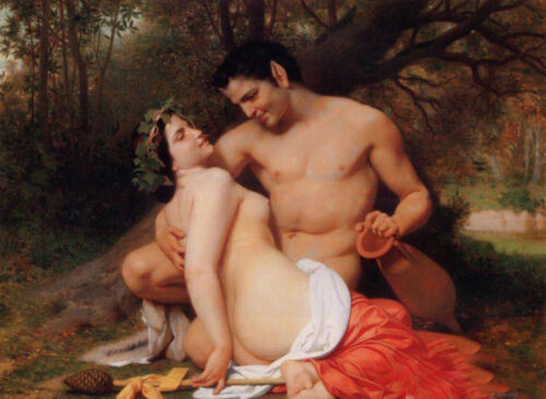 Oil William-Adolphe Bouguereau Faun and Bacchante nude lovers in forest canvas
