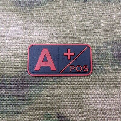 Red Blood Type + POS -NEG Military Tactical 3D PVC Velcro Patch