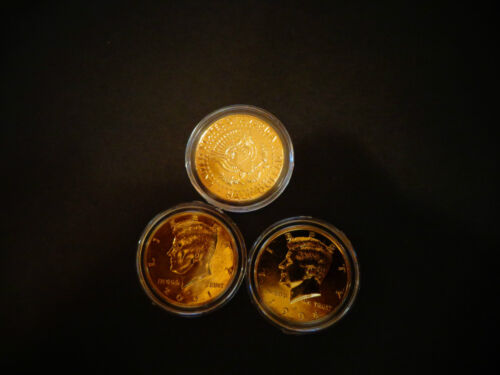 LOT OF 3* 24 K  GOLD PLATED JF KENNEDY HALF DOLLAR COIN SET AIR TIGHT  CAPSULE