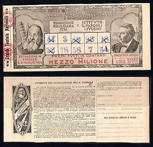 Embossing N°20 Mens 2 Lire Big Tombola National 1933 (Firenze) A-08