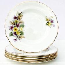 Vintage Bone China Set 5 Tea Plates Purple Yellow Floral