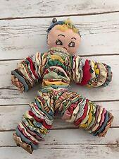 "Vintage Handmade Fabric Circles Jingle Bell Clown Toy 14"" Tall"