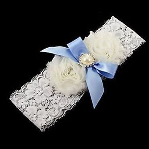 Charming-Wedding-Flower-Blue-Satin-Bridal-Bowknot-White-Pearl-Garter-Lace