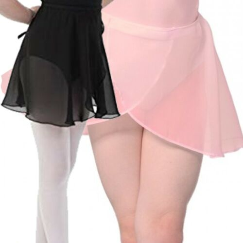 CC Pink Black Dance Skirt Wrap Chiffon Georgette Ballet Crossover RAD Style