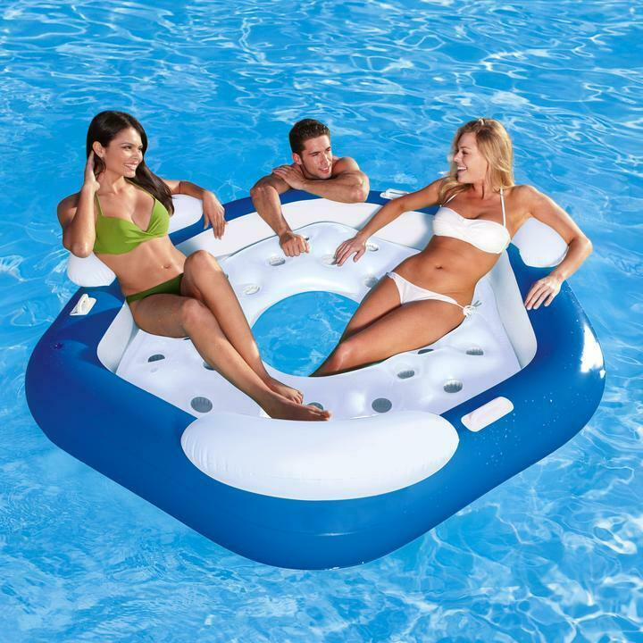 XL 3 Person Inflatable Floating Island Swimming Pool Beach Lounger Mat Swim Ring