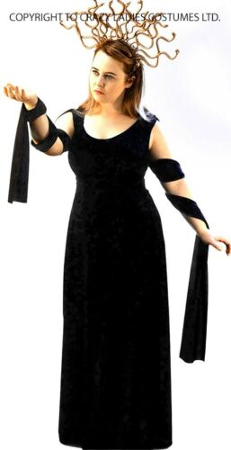 Halloween Scary Greek Mythos Neu Schwarz Medusa Kleid /& Kopfschmuck Alle Damen