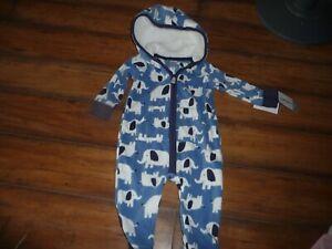 NEW-NWT-Carters-boys-9-months-blue-elephant-fleece-hooded-jumpsuit