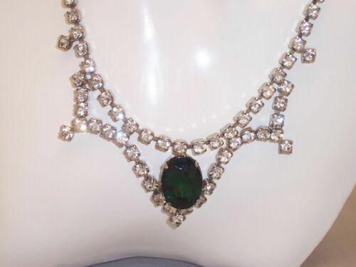 Vintage Clear Rhinestone Choker Necklace Big Emera