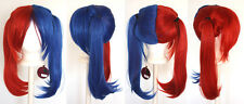 18'' Pig Tails Part Long Bangs Red Blue Split Wig Cosplay Harley Quinn