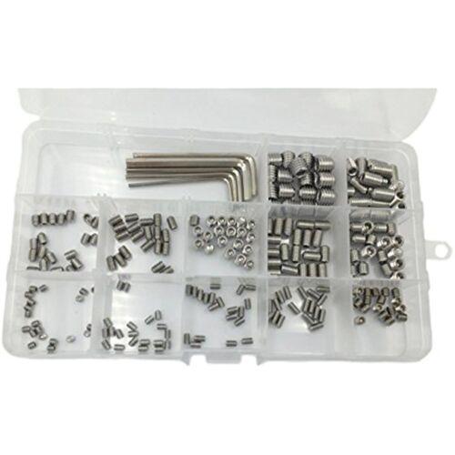 240pcs M3 M4 M5 M6 M8 Metric 304 Stainless Steel Hex Socket Set Screw Assortment