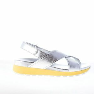 093121ceb63 PRADA women shoes Silver leather cross sandal with yellow trim on ...