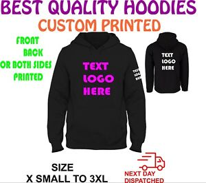c3e575e14 CUSTOM TEXT LOGO PERSONALISED DESIGN YOUR OWN HOODIE UNISEX HOODY | eBay