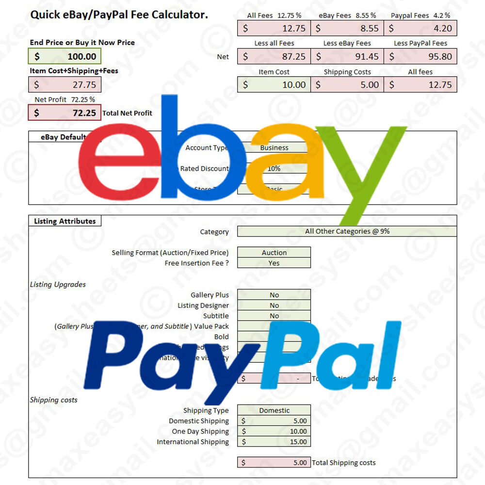 Details About Ebay Paypal Fees Calculator Simple Fee Calc Excel Spreadsheet Tool Us