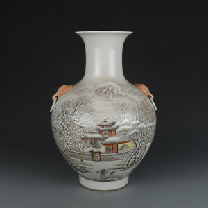 Chinese-Porcelain-Famille-Rose-The-Snow-Visits-Friend-Lion-Ear-Vase