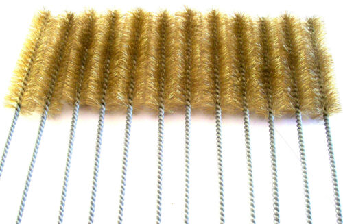"""12 GOLIATH INDUSTRIAL 16/"""" BRASS WIRE TUBE CLEANING BRUSH 1/"""" TB10B BRUSHES GUN"""