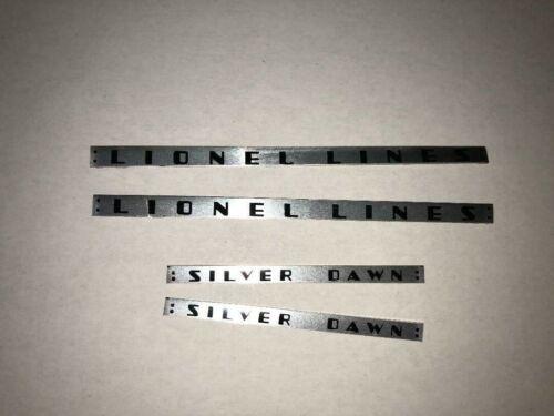 2531 LIONEL LINES SILVER DAWN LIONEL PART PLATE SET