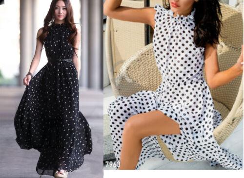 Damen Maxi Chiffon Dress Ball Urlaub Kleid Strand Sommer Lang Cocktail XS S M L