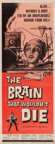 Brain That Wouldnt Die 14inx36in Insert Movie Poster Replica