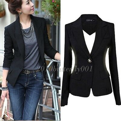 New Women's One Button Slim Casual Business Blazer Suit Jacket Coat Outwear