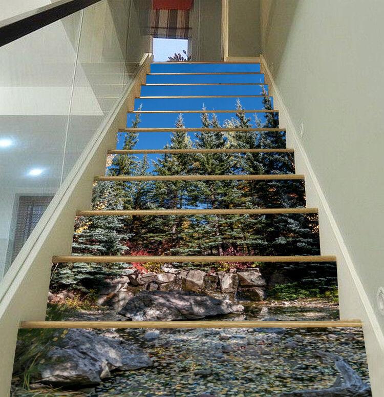 3D Kiefer Wald 820 Stair Risers Dekoration Fototapete Vinyl Aufkleber Tapete DE