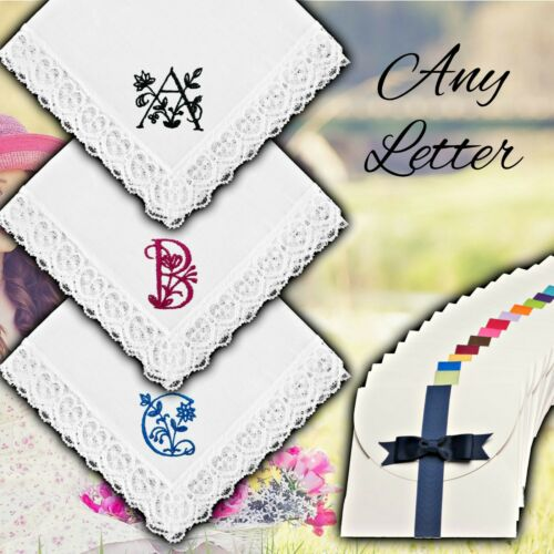 White Lace Floral Letter Embroidered Handkerchief Personalised Initial Ladies