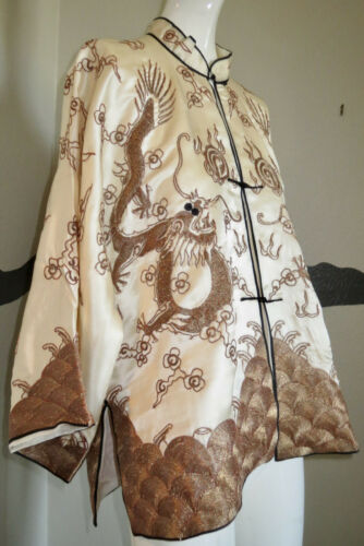 Vintage 1940s Jacket Silk Dragons Embroidery Asian