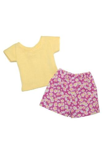 Short Set made for 14 inch Wellie Wisher  Doll Clothes by TKCT Yellow Pink