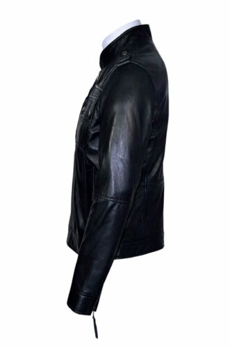 Casual Jacket Black Leather Lambskin Biker Real New Soft Style City Deluxe Men's CqxtP