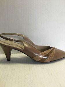 Bruno-Magli-Women-039-s-Shoes-MOCHA-Brown-Leather-Slingback-2-5-Heels-Size-7-N-NWOB