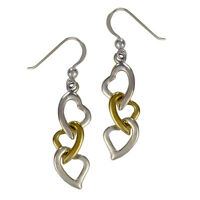Sterling Silver Interwoven Chain Of Hearts Earrings Gold Plating - Love Jewelry
